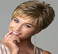 Capless High Quality Short Curly Mix Color  Synthetic with Side Bang