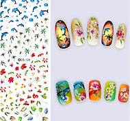 Big Page Water Transfer Printing Blue Whale Nail Stickers