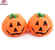 Dog Toy Pet Toys Chew Toy Squeak / Squeaking Pumpkin Halloween Orange Rubber