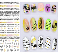 Big Page Water Transfer Printing Black English Nail Stickers
