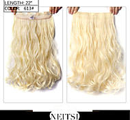 "Neitsi® 1pc 110g 22"" 3/4 Full Head 5clips Kanekalon Synthetic Braiding Hair Pieces Clip In/on Wavy Extensions 613#"