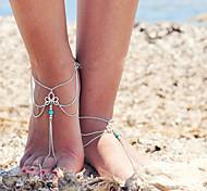 женские ретро многослойные кисти цепь ножной браслет одного