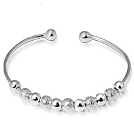 Woman Transfer Bead Sterling Silver Opening Bracelet