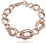 Fashion Simple Women's Rhinestone Rose Gold Plated Tin Alloy Chain & Link Bracelet(Rose Gold)(1Pc)