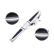 Cufflinks and Tie Clip Bar Set (Silver)