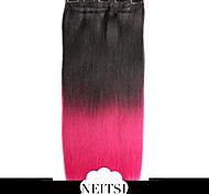 "Neitsi® 110g 22""Full Head 5clips Kanekalon Synthetic Hair Pieces Clip In/on Straight Extensions T-Rose#"