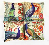 Set of 4 Peacock Pillowcase Sofa Home Decor Cushion Cover(17*17inch)