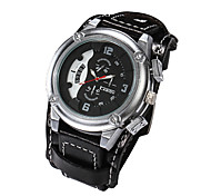 Men Genuine Leather Wide Band Watches Big Size Sports Calendar Watch Waterproof Vintage Wrist Watch(Assorted Colors) Cool Watch Unique Watch