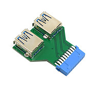 dual usb 3.0 una hembra de tipo a la placa base de 20 pines adaptador de ranura encabezado cuadro pcba