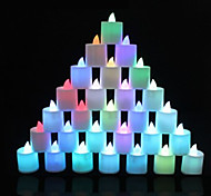 24pcs MORSEN® 6 Colors Polypropylene Plastic LED Fliker Flameless Candle Light For Wedding Party Holiday Decoration