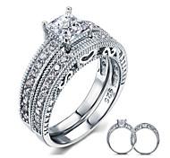 Кольца для пар Стерлинговое серебро Цирконий Перья Круглой формы Elegant Бижутерия Свадьба Для вечеринок Повседневные 2 шт.