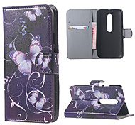 Purple Butterflies Leather Wallet Flip Stand Cover Case For  Motorola MOTO G3 G 3nd Gen XT1552