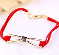 Charm Jewelry Red Leather Cord Bowknot Bangle Bracelet Gift