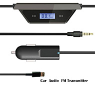 Wireless 3.5mm Car LCD Display FM Transmitter Cable For iPhone  5S 6Puls ipod