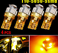 4X T10 168 Amber Yellow High Power 5050 Chip Interior 5 LED Light Bulbs W5W 194