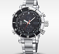 Men's Brand Luxury Analog & Digital Double Time Silver Steel Sports Watch Cool Watch Unique Watch