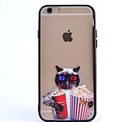 pipoca gato óculos pc padrão de combinação e caixa do telefone de material TPU para iphone 6 mais / 6s mais
