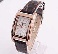 Ms Retro White Square Glass Dial Waterproof Leather Strap Watch
