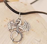European Style Fashion Metal Auspicious Dragon Leather Cord Necklace