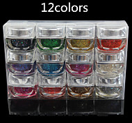 12pcs Crystal Phototherapy Nail  Gel Glitter Nail UV Resin