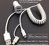 FCC CE certified Car Charger 1A/2.1A Double output+Apple MFi Certified Lightning +Micro USB Spring cable For iPhone 6S