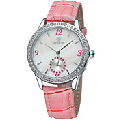 Skone® Women's Real Small Seconds Dial Hardlex Crystal Silver Case PU Leather Straps Watches