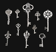 Beadia Antique Silver Metal Key Pendants Alloy Charm Pendants 10 Styles U-Pick