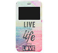 Live Your Life Pattern PU Window Full Body Case for iPhone 6 Plus