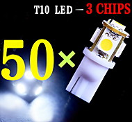 50 PCS Super White T10 Wedge 5-SMD 5050 LED Light bulbs W5W 2825 158 192 168 194