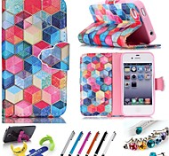 iPhone 7 Plus Geometric Pattern PU Leather Whole Package Type  Holster For iPhone 6s 6 Plus SE 5s 5 4 4s