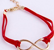 Vintage Jewelry Red Leather Cord Bangle Gold 8 Word Bracelet