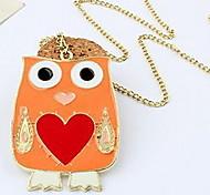Fashion Jewelry Orange owl Necklace Pendant Sweater Chain