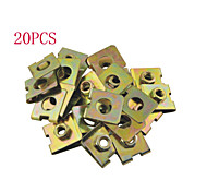20pcs Auto Car 10mm Hole Dia Spring Metal Panel Fender Plate U-Type Clips Speed Nuts M6