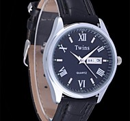 L.WEST Men's Both English And Chinese Double Roman The Belt Of Waterproof Quartz Pointer Watch