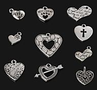 beadia fascino antico di cuore in metallo argento pendenti 10 stili
