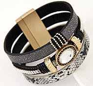 European Style Fashion Trend Metal Simple Magnet Wide Bracelet