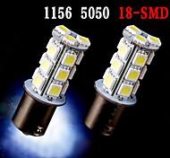 2 x blanco 1156 BA15S 18 SMD 5050 LED bombillas convierten la señal de respaldo inversa