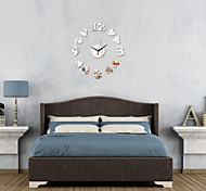 3D Acrylic Mirror Home Decor Heart Wall Clock Mirror Surface Sticker