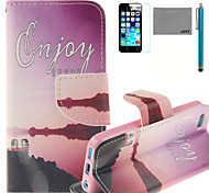 LEXY® Red River Pattern PU Full Body Leather Case with Screen Protector and Stylus for iPhone 5C