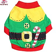 Cat / Dog Coat / Shirt / T-Shirt Red / Green Spring/Fall Classic Christmas / New Year's