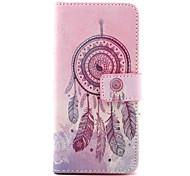 dreamcatcher padrão de capa de couro pu com pressão magnética e slot para cartão para iphone 6 6s / iphone