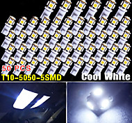 50 PCS Cool White T10 Wedge 5050 5SMD Car Interior Dome Map Glove Box LED Lights