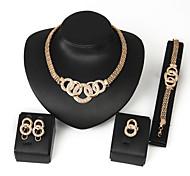 Vintage / Party - Damen - Halskette / Ohrring / Armband / Ring ( Rose Gold überzogen )