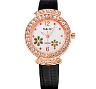 Women's Casual Leather Band Rhinestone Flower Watch