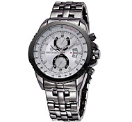 SKONE Men's Luminous Hands Calendar Steel Band Quartz Watches Wrist Watch Cool Watch Unique Watch