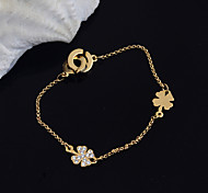 Korean Fashion Rhinestone Clover Stainless Steel Bracelet
