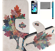 LEXY® Colorful Tree Pattern PU Full Body Leather Case with Screen Protector and Stylus for iPhone 5C
