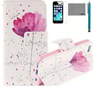 lexy® patrón de flores de color rojo pintada pu funda de piel de todo el cuerpo con protector de pantalla y el stylus para 5c iphone