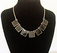 Fashion Chain Jewelry Square Choker Pendant Necklace