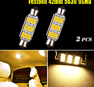 2X Warm White Festoon 42MM 5630 9SMD High Power Dome Map Cargo License Light 578